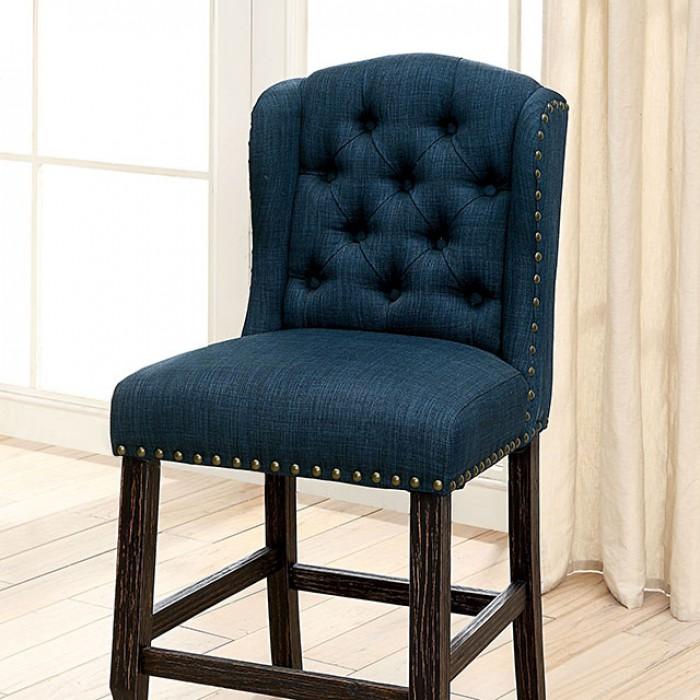 Blue Counter Height Chair Closer Details