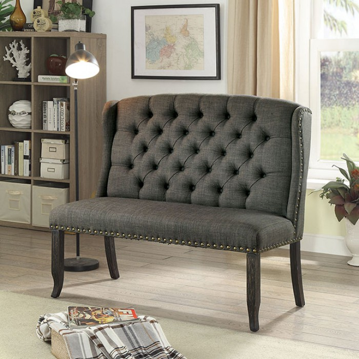 Gray 2-Seater Loveseat Bench