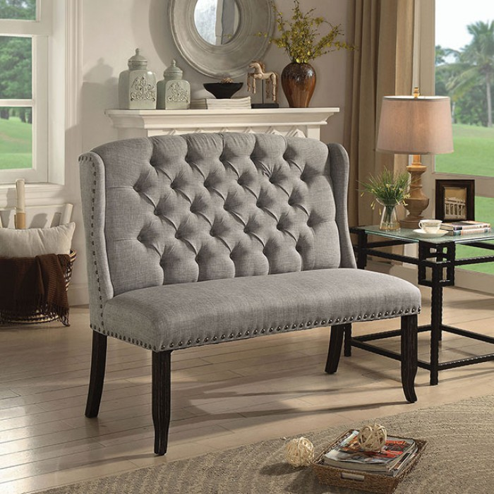 Light Gray 2-Seater Loveseat Bench