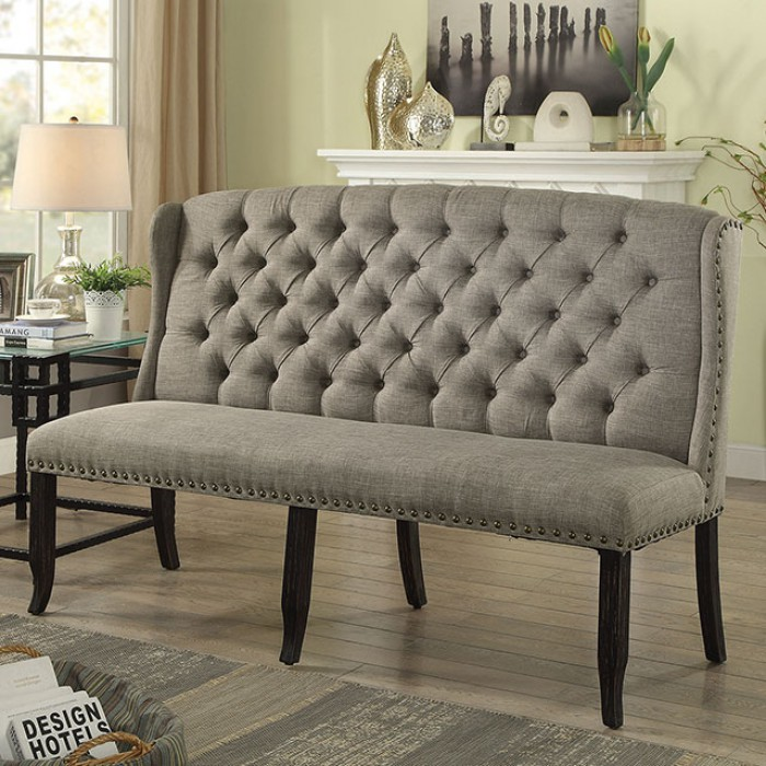 Light Gray 3-Seater Loveseat Bench
