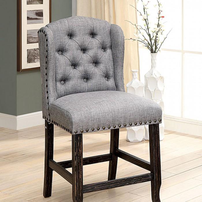 Light Gray Counter Height Chair Closer Details