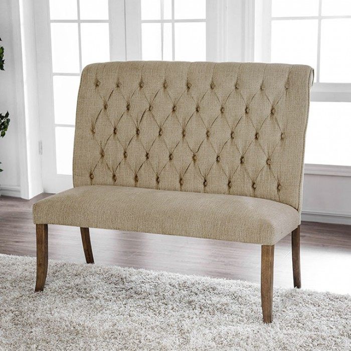 Button Tufted Scroll Back Loveseat BEnch