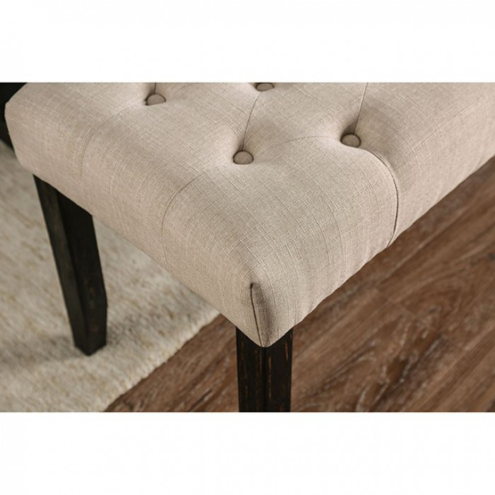 Ivory Bench Button Tufted Details