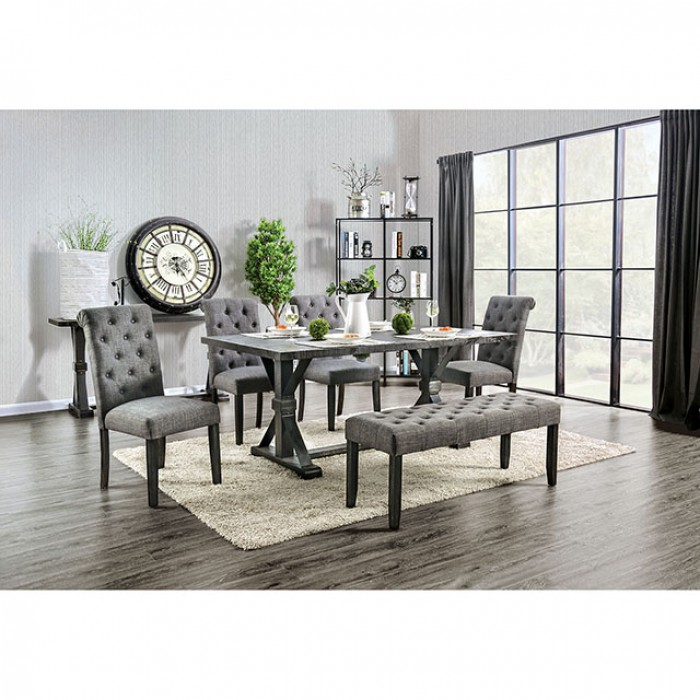 Complete Rectangular Dining Table Set w/ Gray Side Chairs