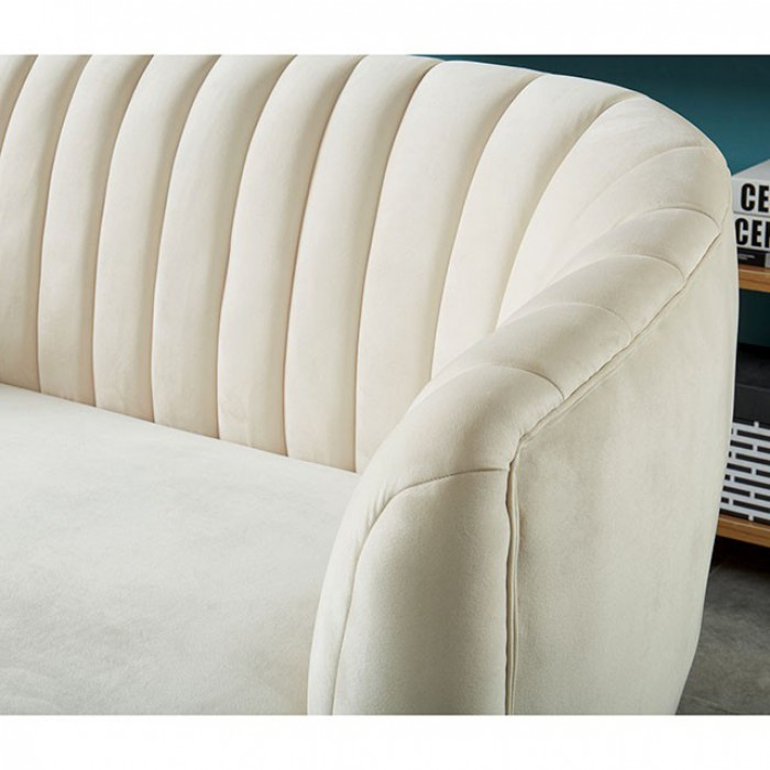 Ivory Accent Chair Back Tufted Details