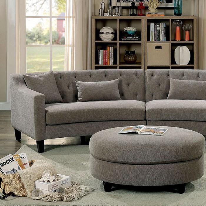 Warm Gray Sectional Sofa Set Up Close