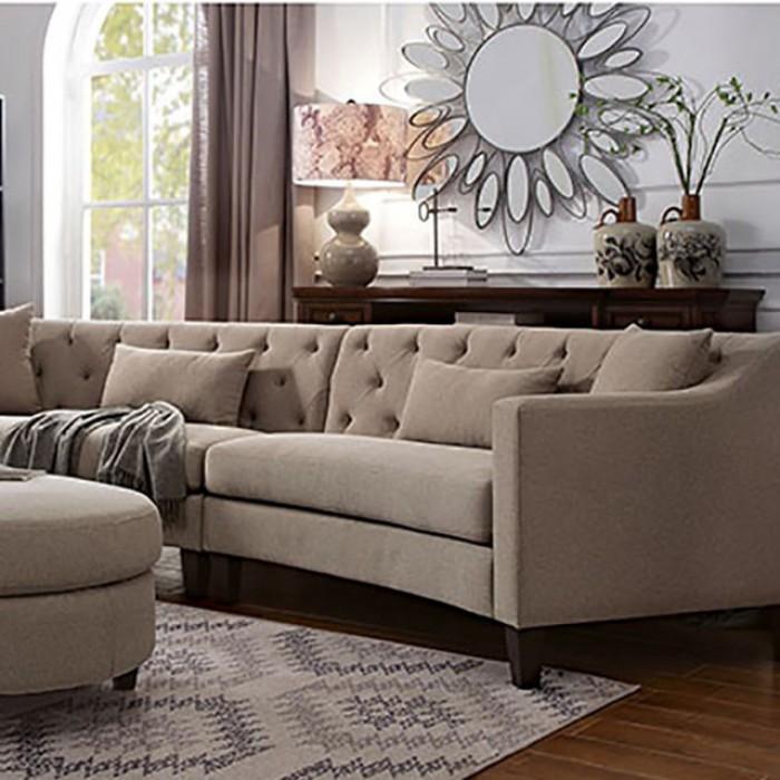 Taupe Sectional Sofa Set Up Close
