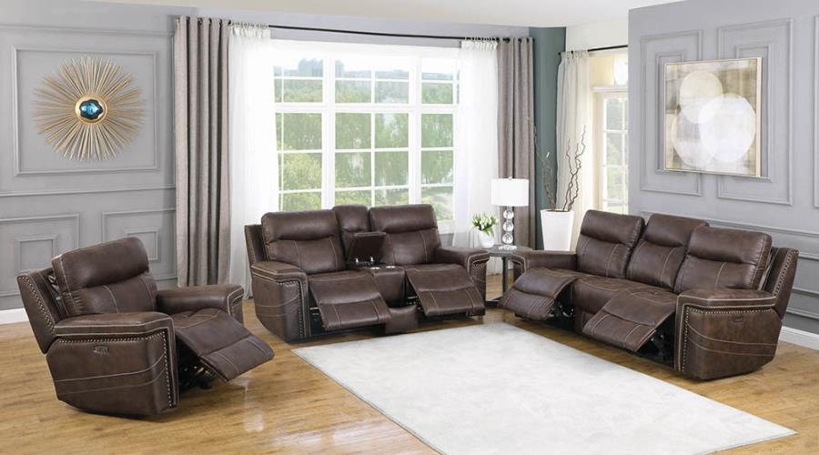 Brown Complete Power Motion Reclining Sofa Set