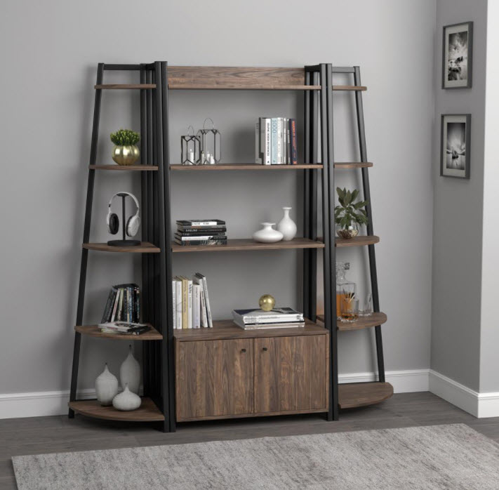 Complete Set W/1 Storage Book Shelf & 2 Corner Book Shelves
