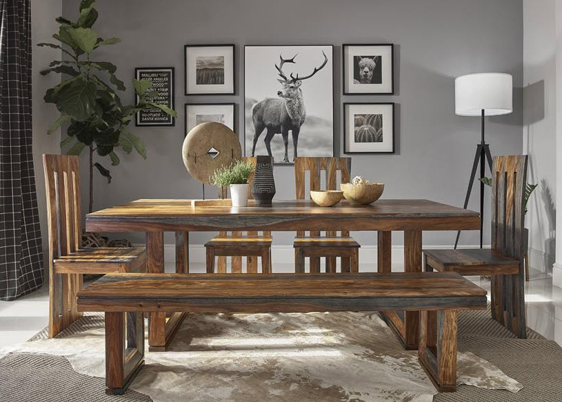 Table W/4 Chairs & 1 Bench