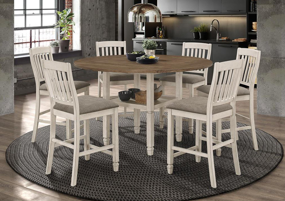 Circular Table with Leaf Up