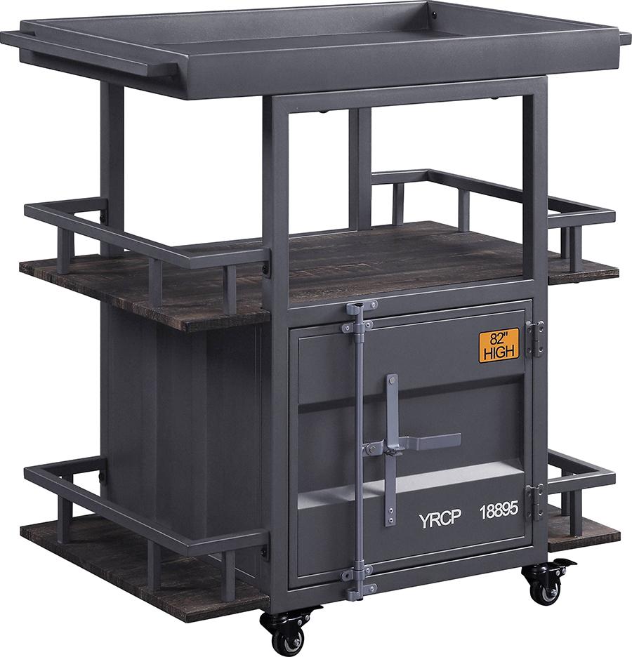 Gunmetal Serving Cart Angle