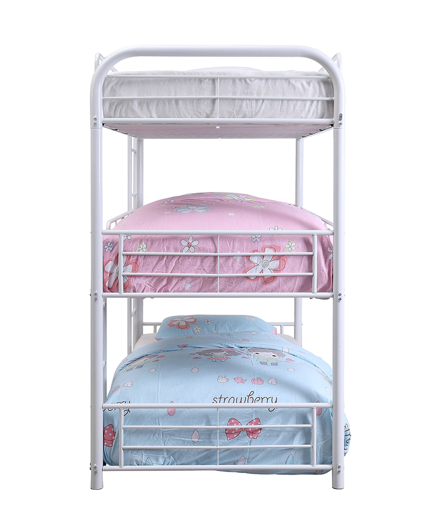 White Triple Metal Bunk Bed Side