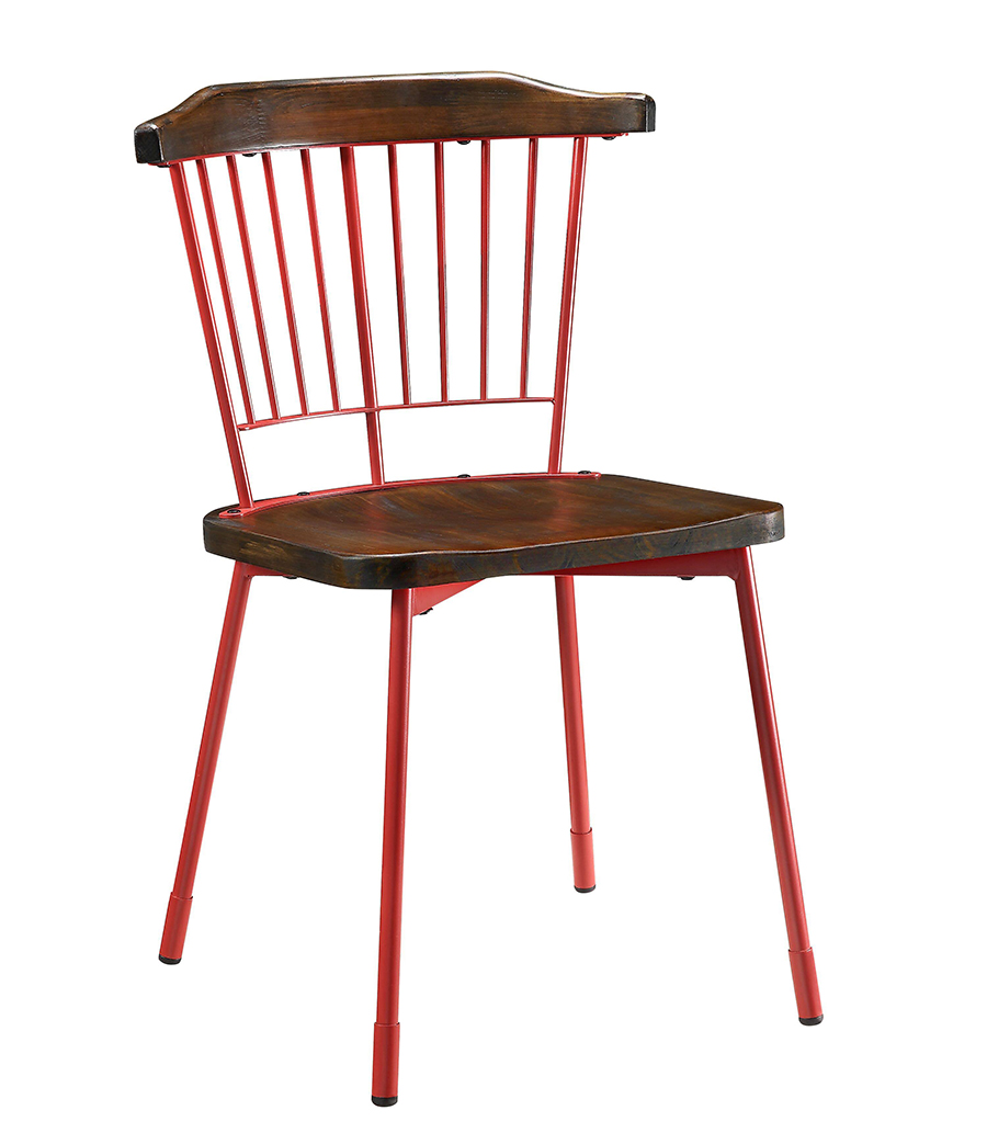 Red & Brown Oak Side Chair Angle