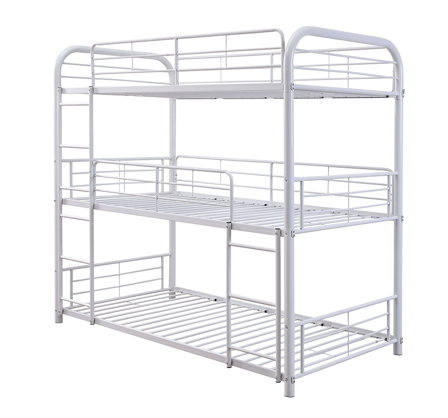 White Triple Metal Bunk Bed Frame Angle