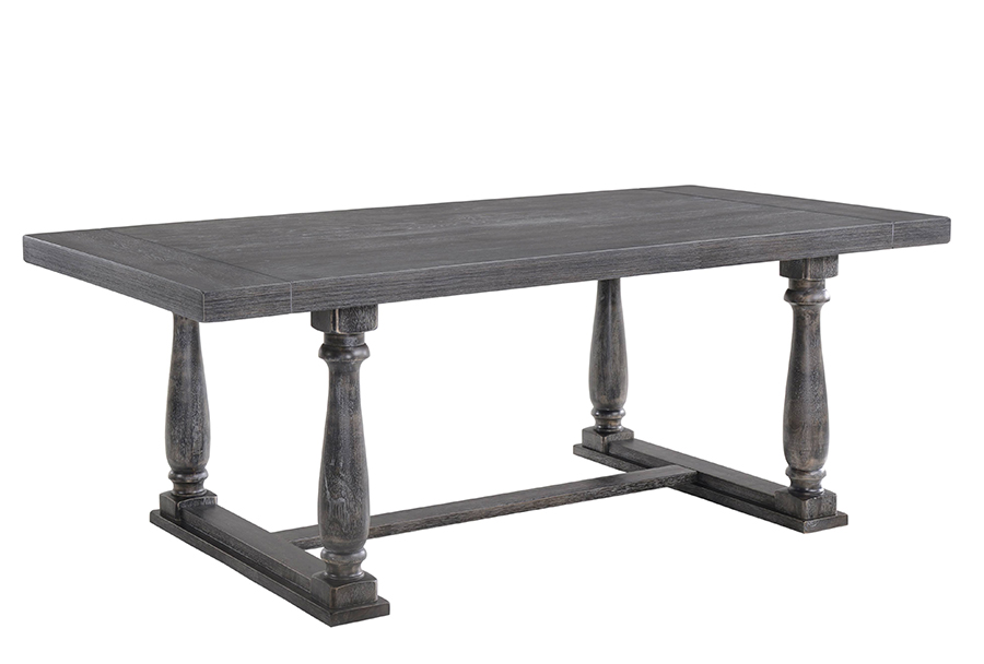 Weathered Gray Oak Dining Table Angle