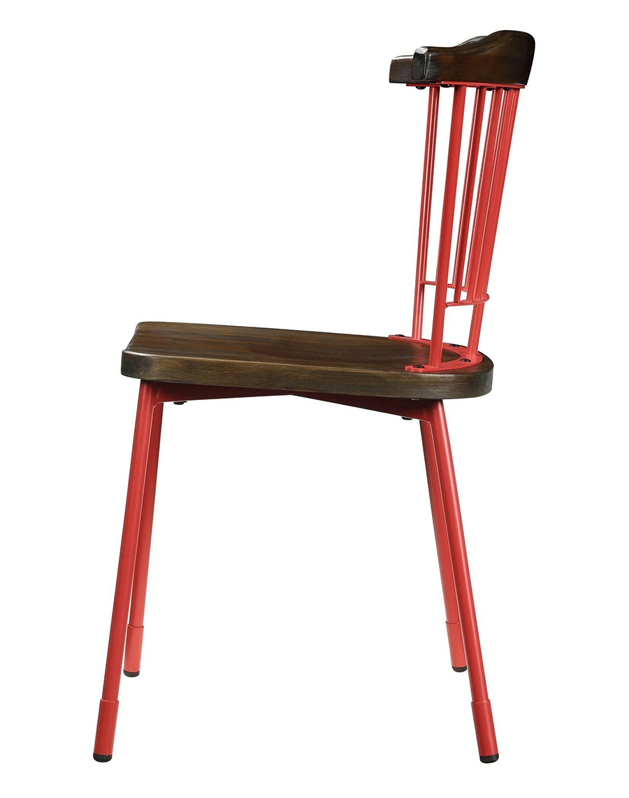 Red & Brown Oak Side Chair Side View