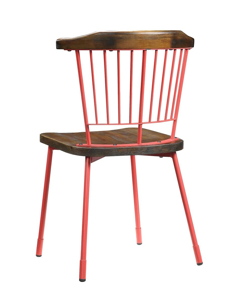 Red & Brown Oak Side Chair Back