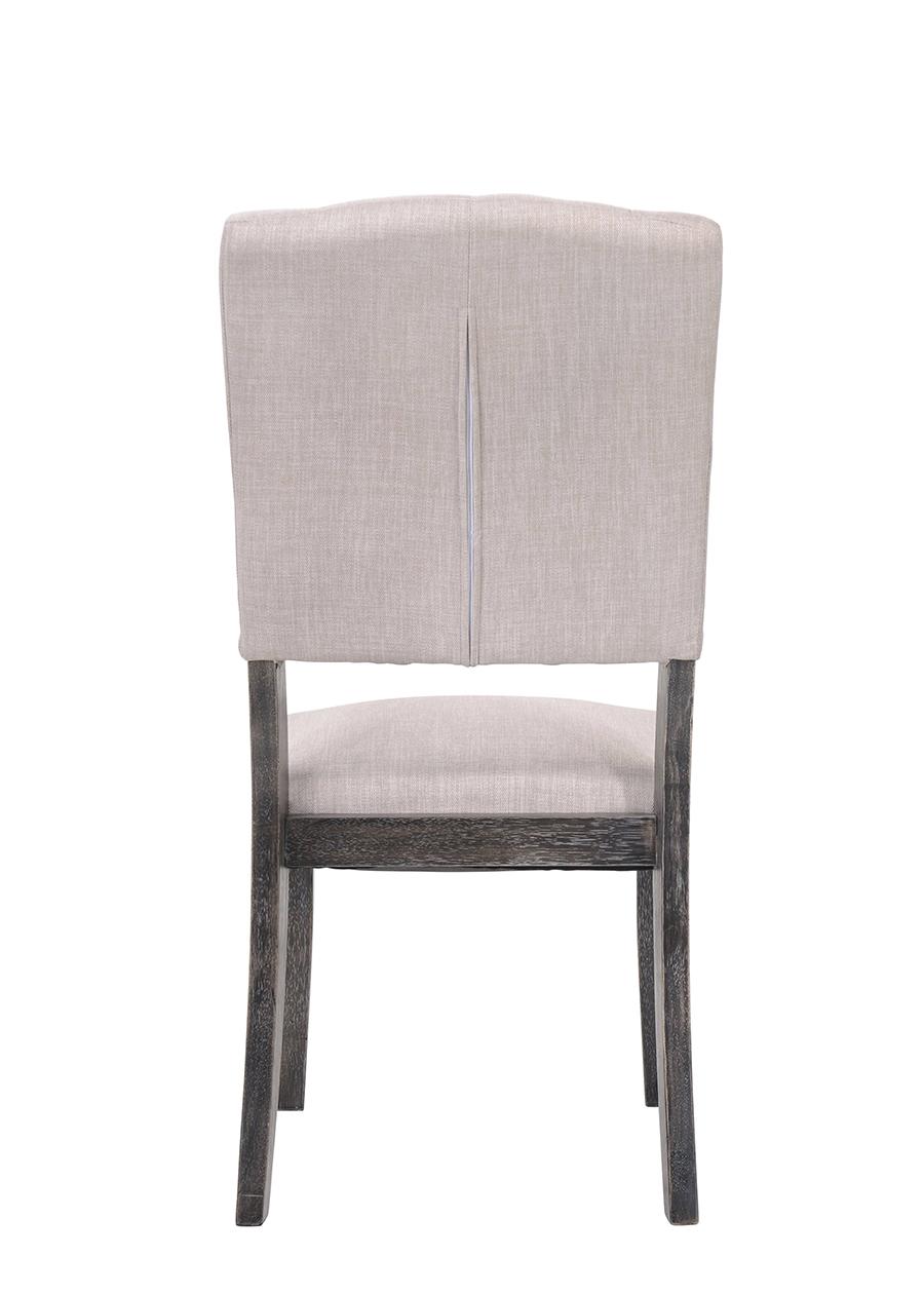 Weathered Gray Oak & Cream Linen Side Chair Back