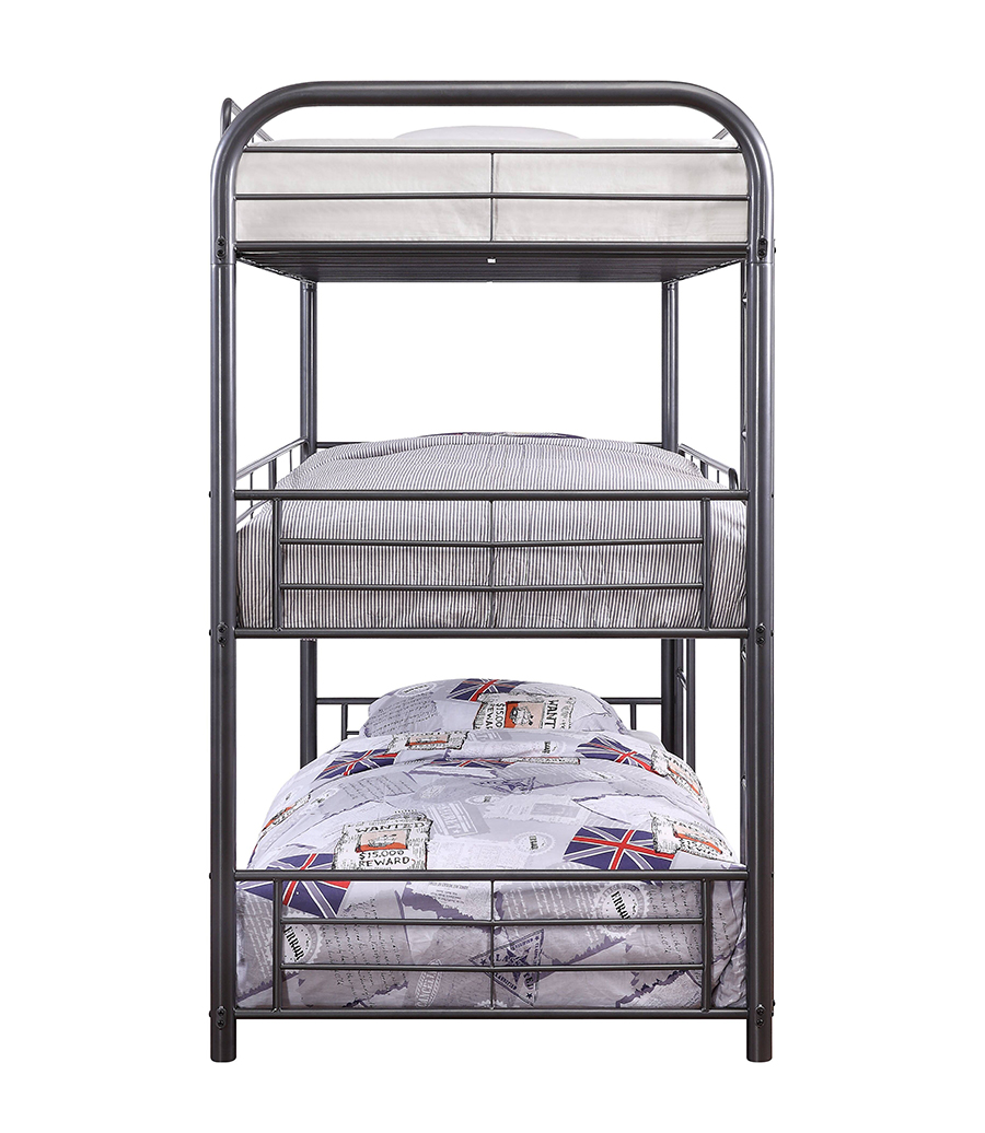 Gunmetal Triple Metal Bunk Bed Side