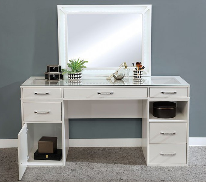 Luminous White Vanity & Mirror