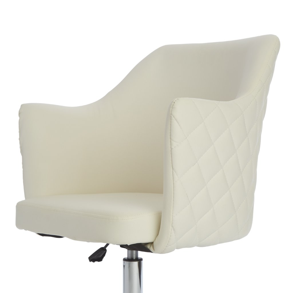 White Vanity Chair Seat Details